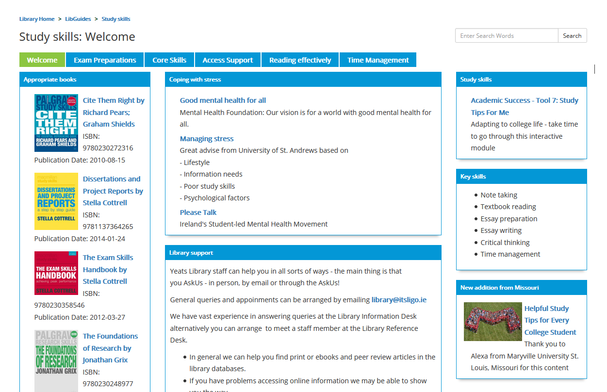 screenshot of study skills libguide